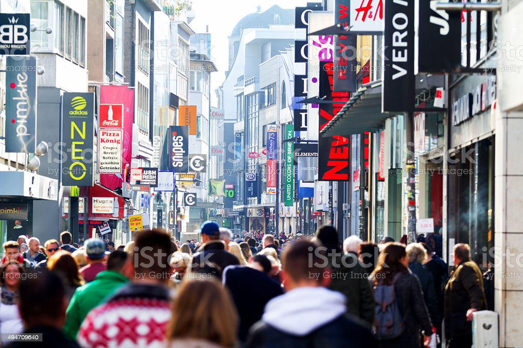 Shopping in Hohe Straße of Cologne stock photo