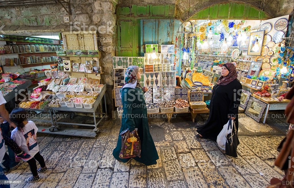 Shopping in Jerusalem stock photo