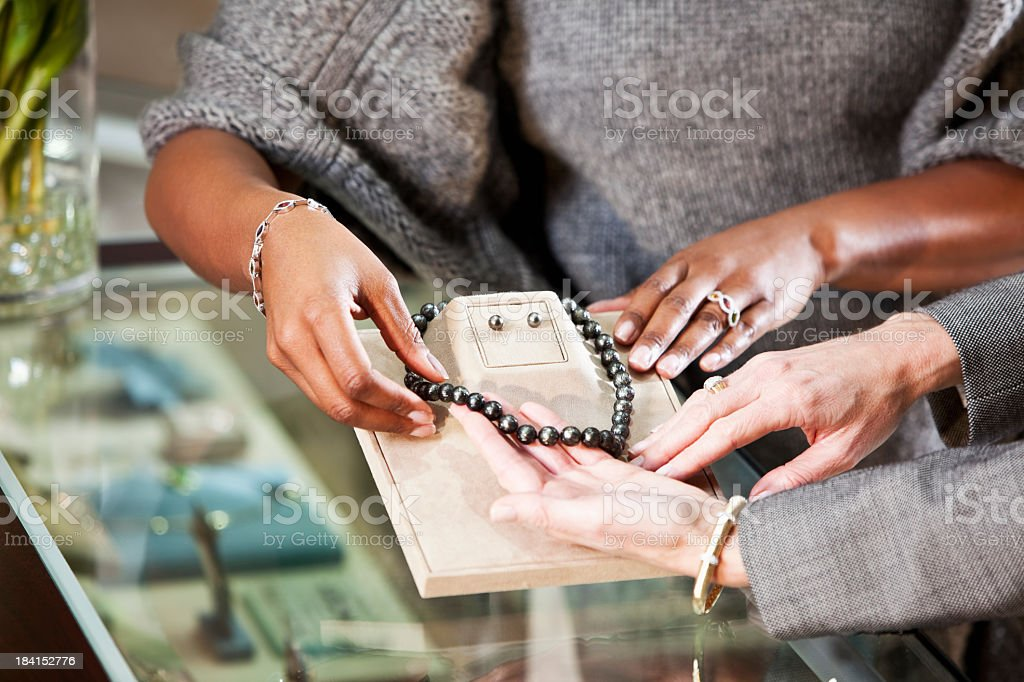 Shopping in jewelry store stock photo