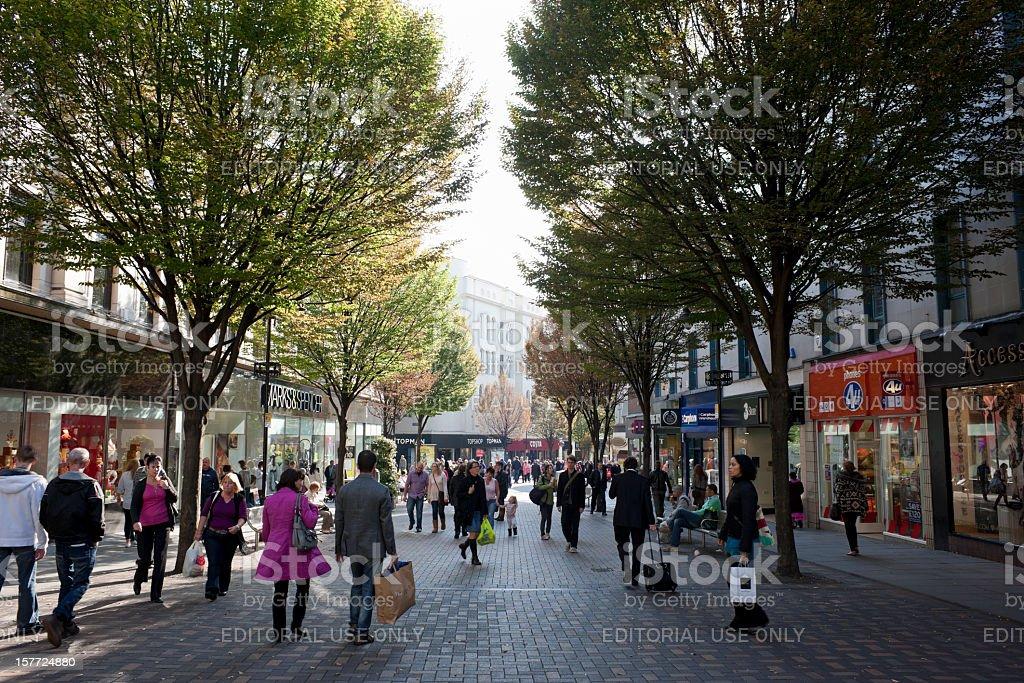 Shopping in Nottingham city centre. stock photo