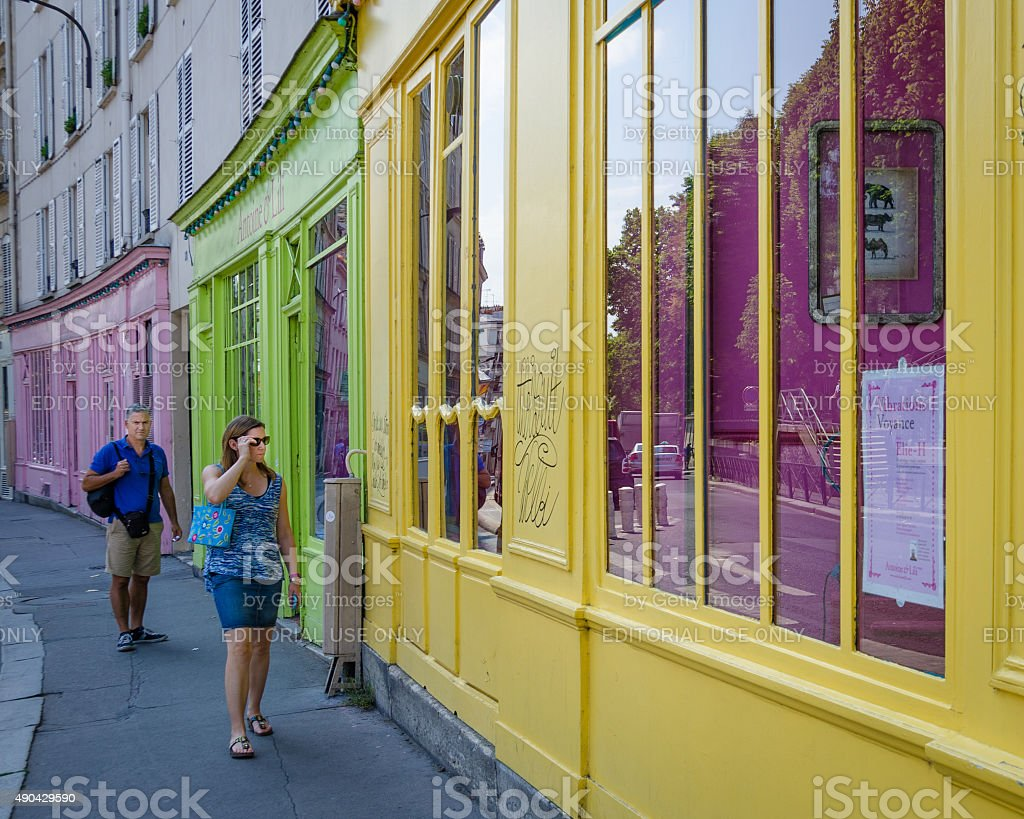 Shopping in the Canal Saint-Martin neighborhood stock photo