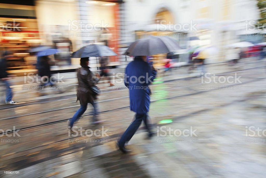 shopping in the rainy city stock photo