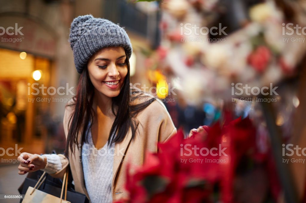 Shopping in the street, christmas time. stock photo