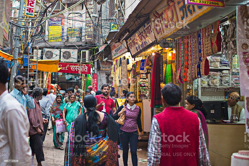 Shopping in the streets of Delhi stock photo