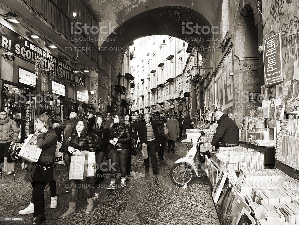 Shopping in the streets of Naples, Italy royalty-free stock photo