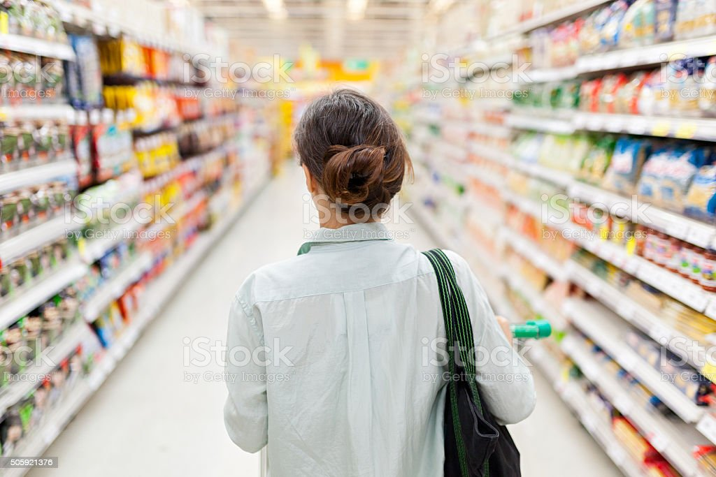 Shopping in the supermarket stock photo