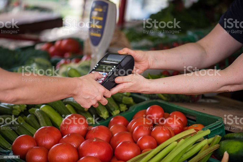 Shopping in vegetable market stock photo