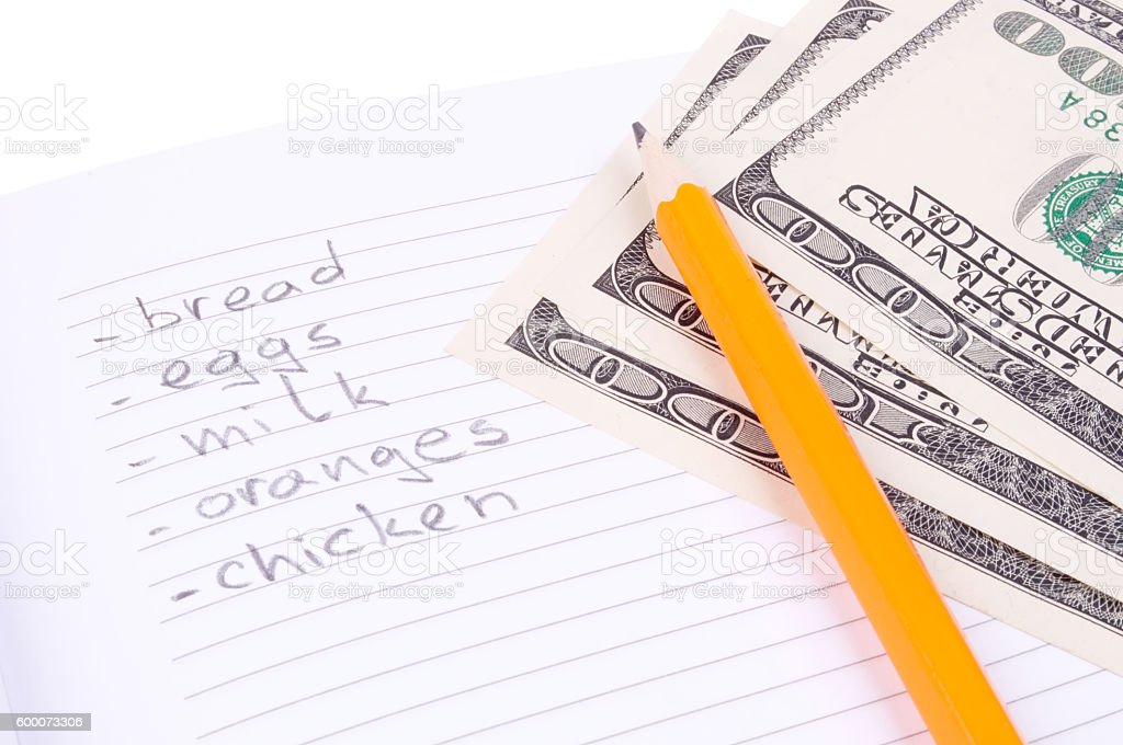 Shopping list and Dollars stock photo