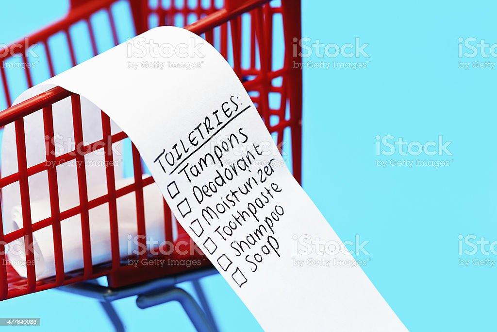Shopping list headed Toiletries in tiny trolley royalty-free stock photo