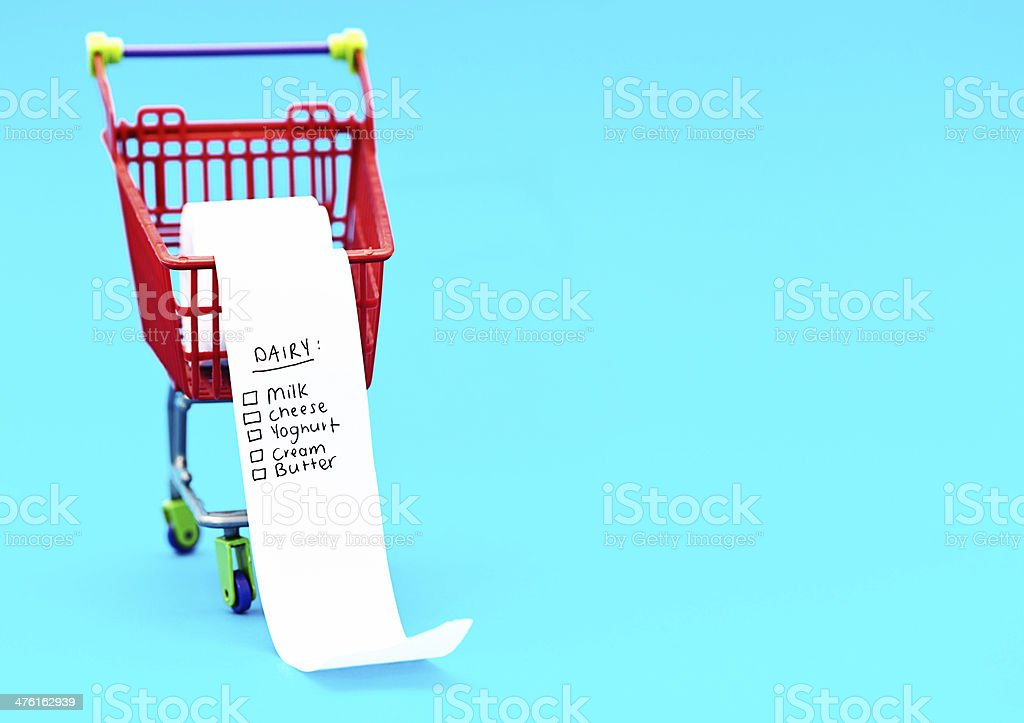 Shopping list in tiny trolley is headed DAIRY royalty-free stock photo