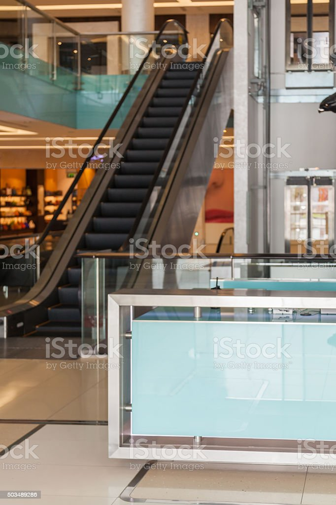 Shopping Mall and Escalator stock photo