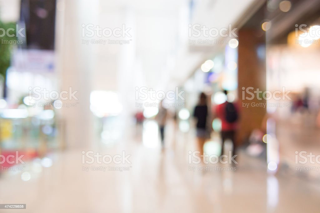 Shopping mall blur background with bokeh stock photo