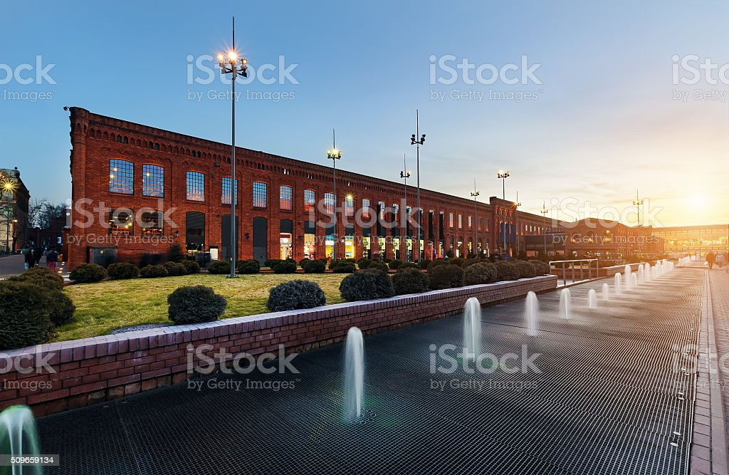 Shopping Mall in Lodz on the sunset stock photo