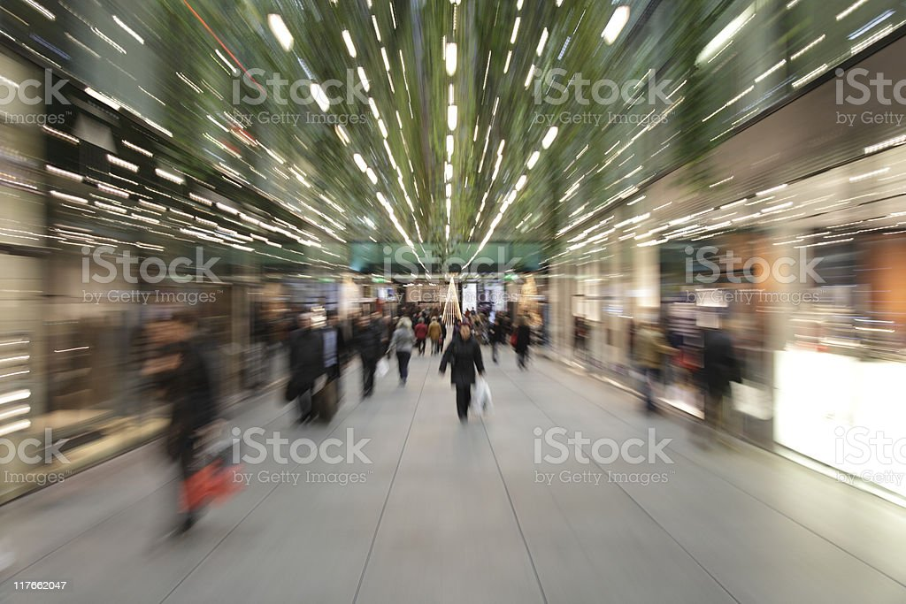 shopping mall large group of people blurred with zoom XXXL stock photo