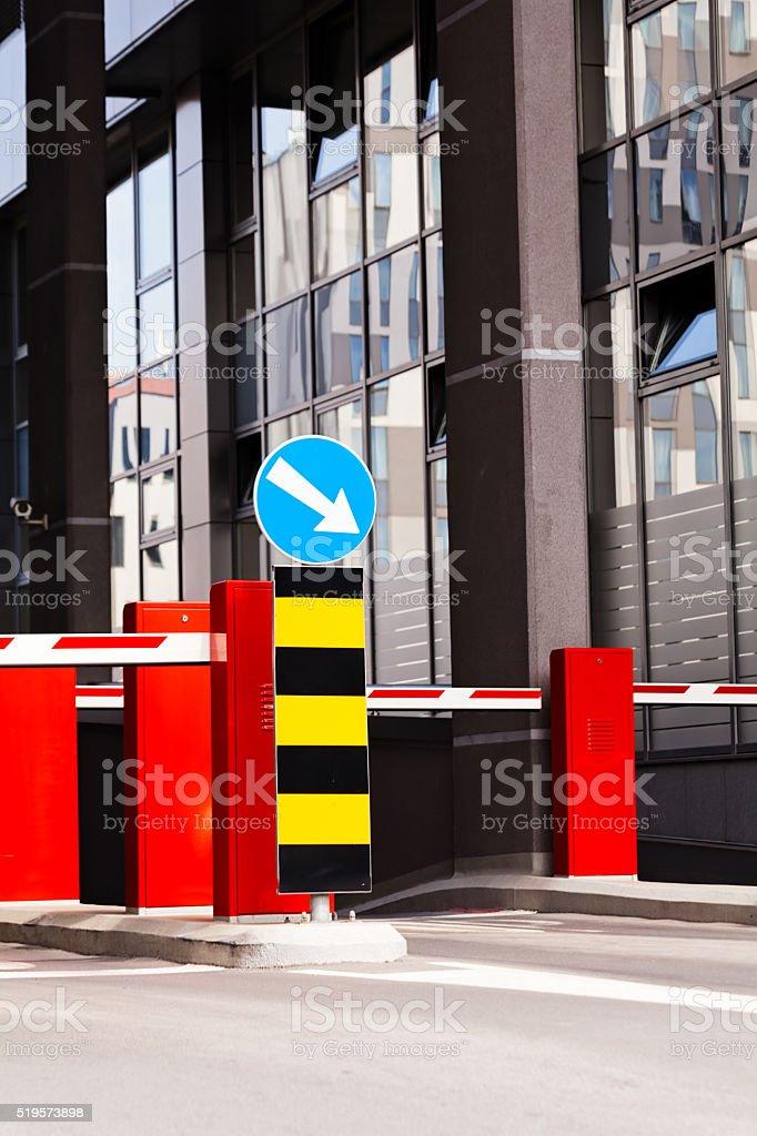 Shopping mall parking entrance stock photo