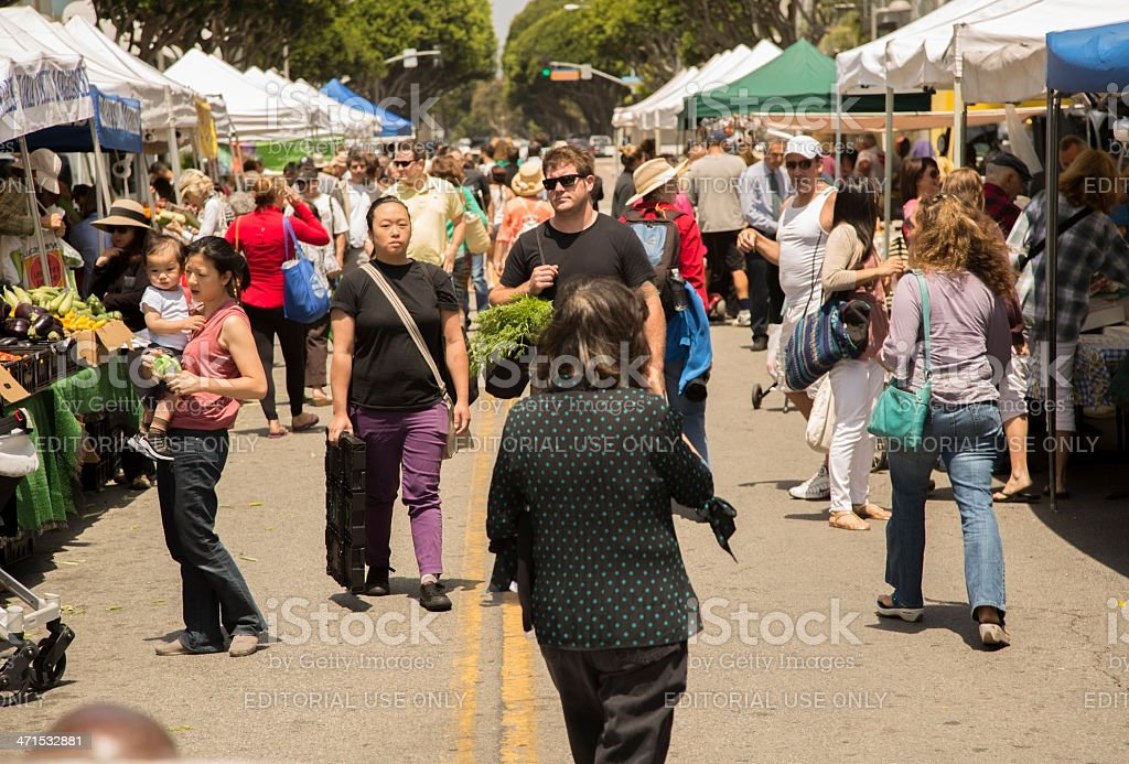 Shopping:  Multi-ethnic people in outside market - Santa Monica, California royalty-free stock photo