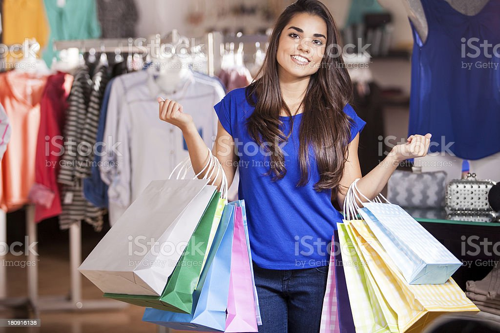 Shopping on a huge sale royalty-free stock photo