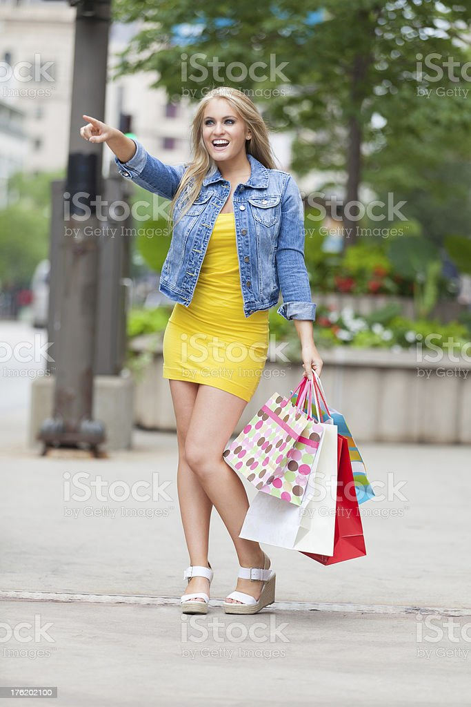 Shopping on Chicago's Michigan Avenue royalty-free stock photo