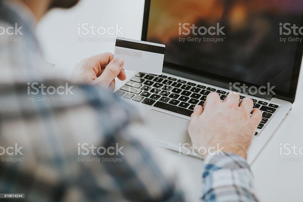shopping on internet stock photo