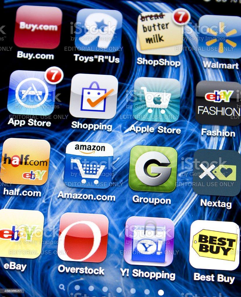 Shopping on Iphone 4 stock photo