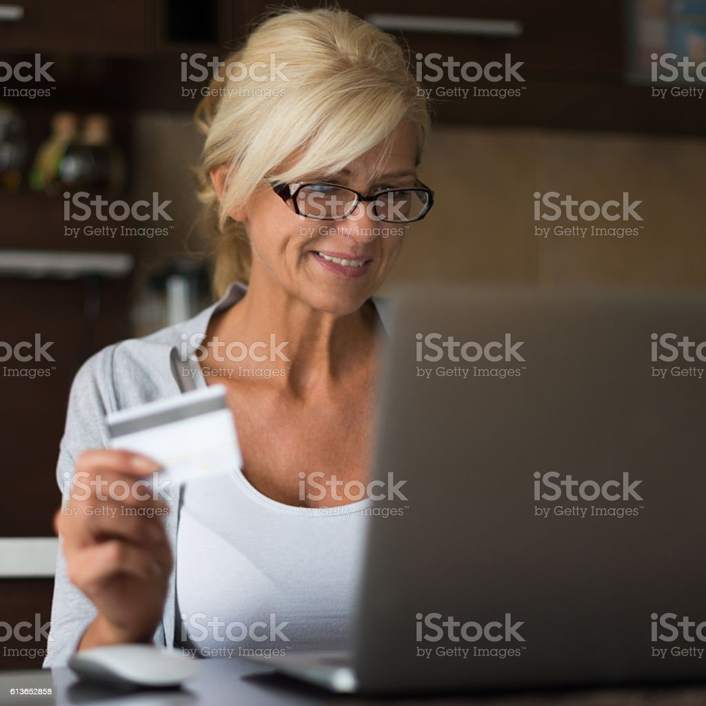 Shopping on the computer stock photo