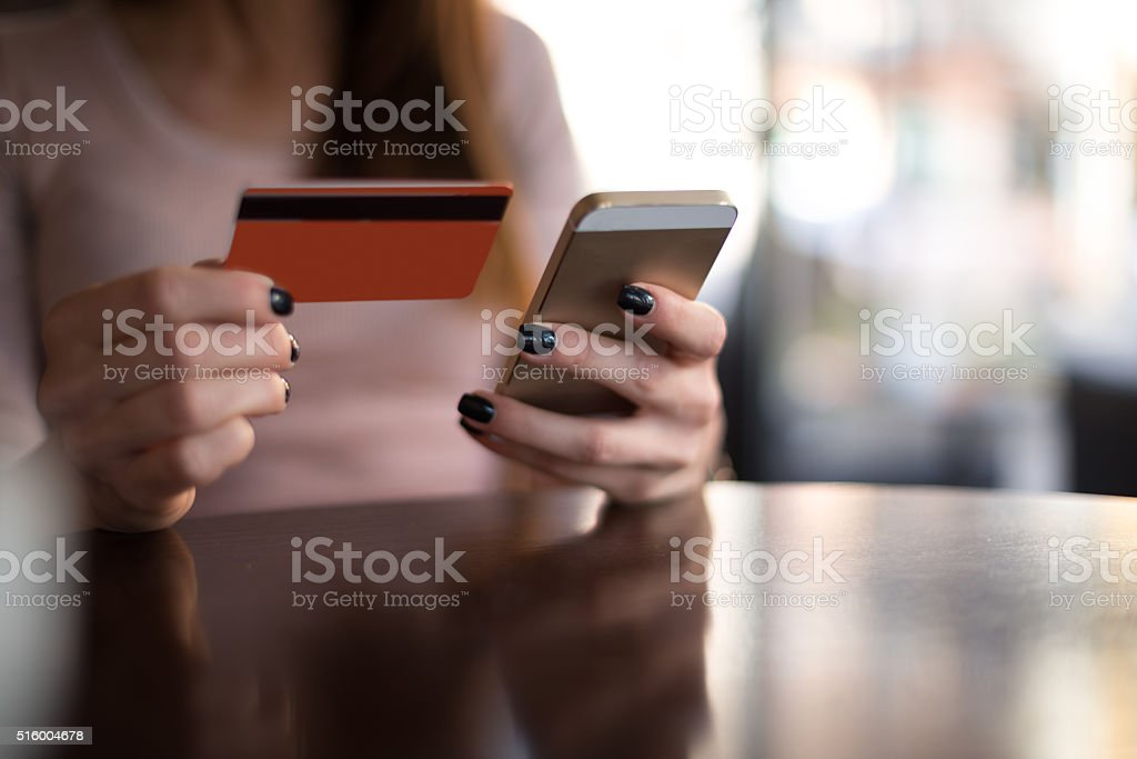 Shopping on the internet stock photo