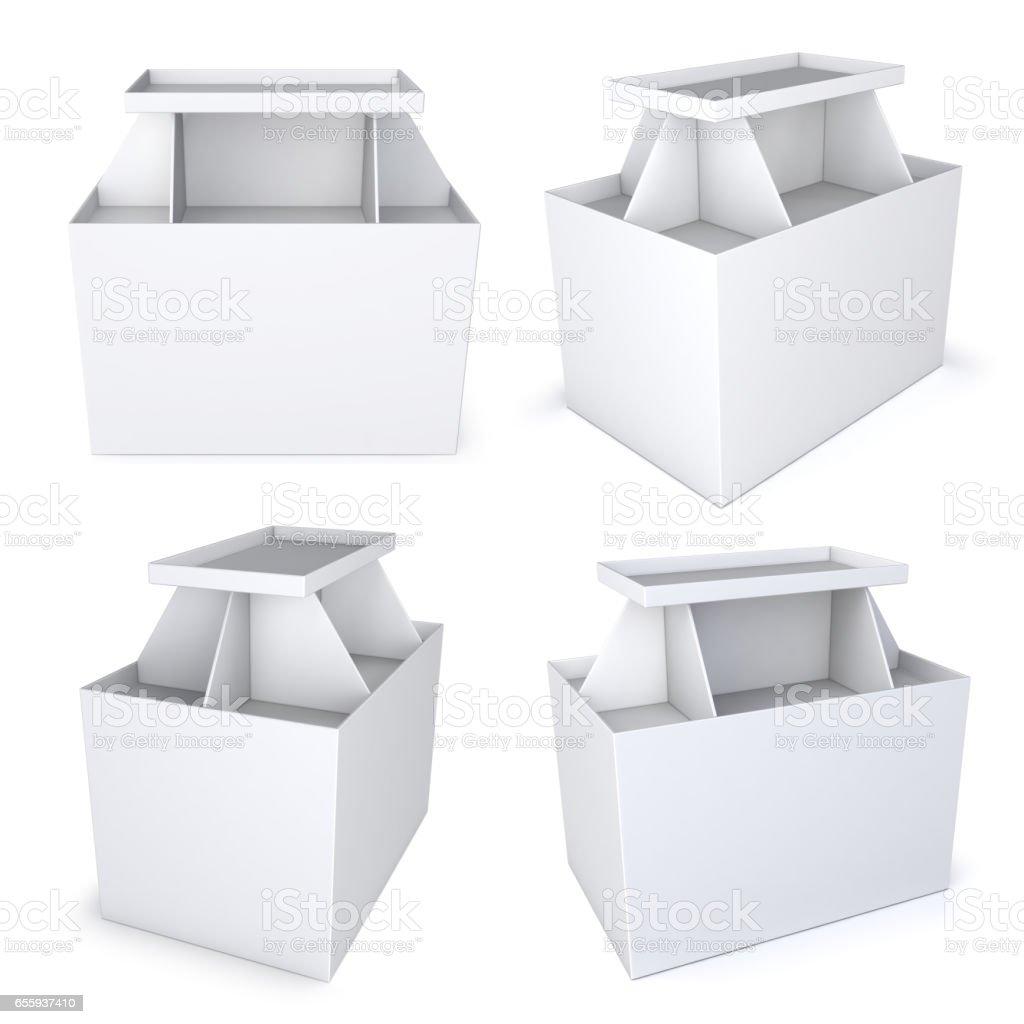 Shopping pallet display shelf. Blank, white stock photo