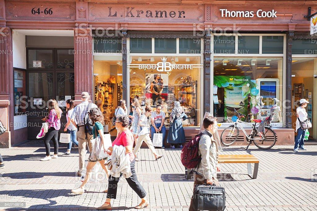 Shopping people in Heidelberg stock photo