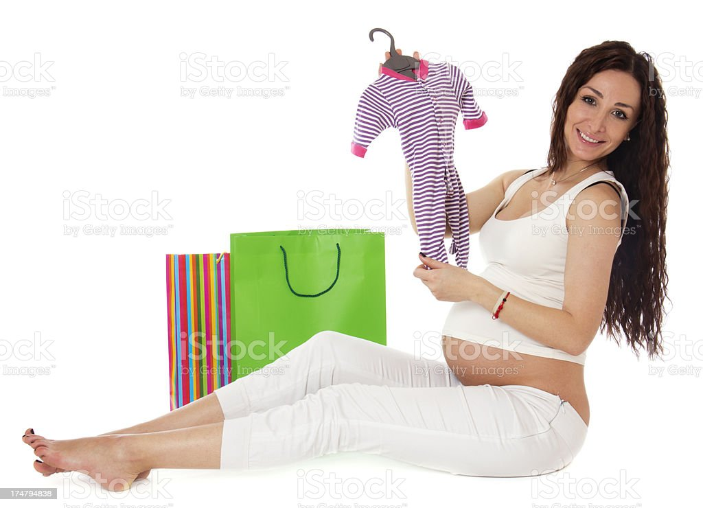 Shopping pregnant woman. royalty-free stock photo
