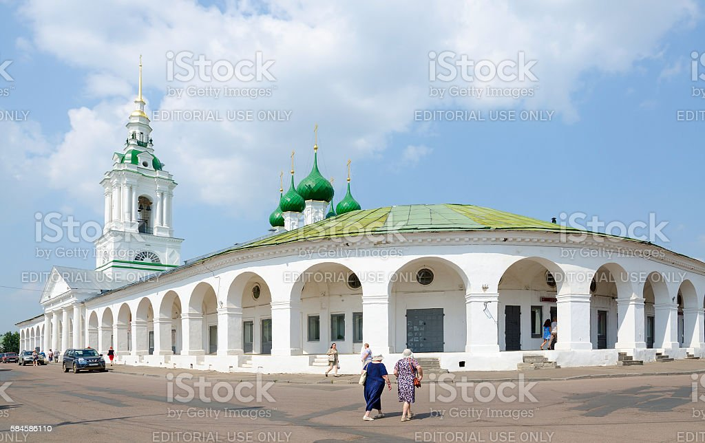 Shopping ranks and Church of Saviour in ranks, Kostroma, Russia stock photo
