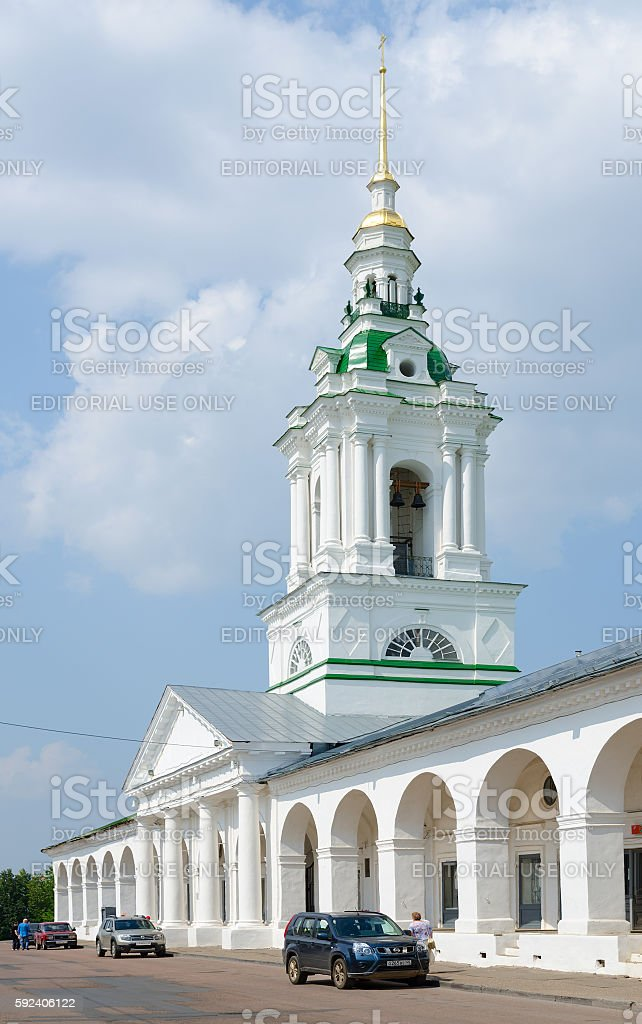 Shopping Rows and bell tower of Church of Saviour, Kostroma stock photo