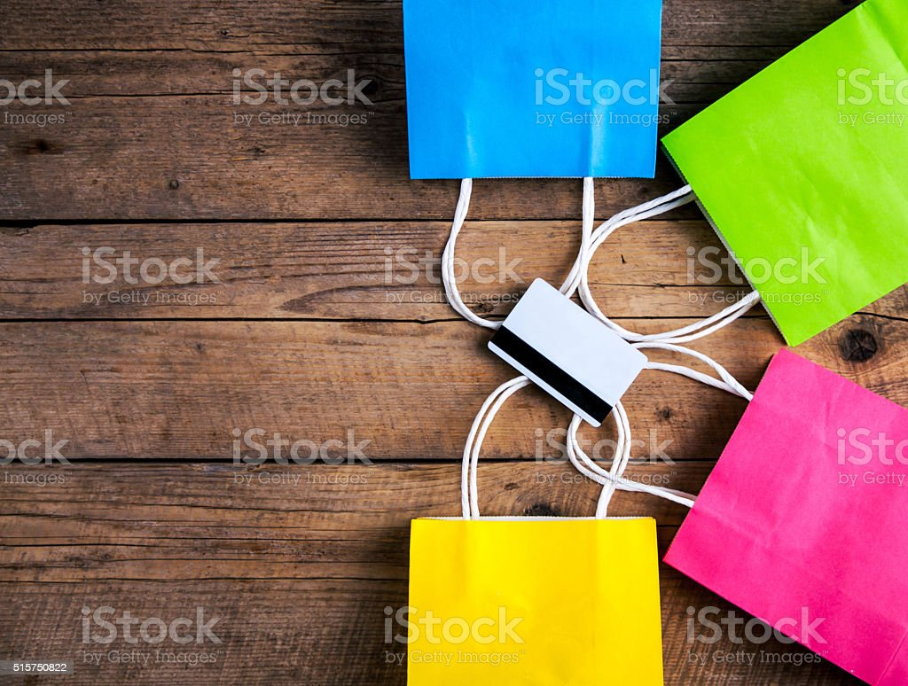 Shopping. Sale. Credit card with packages stock photo