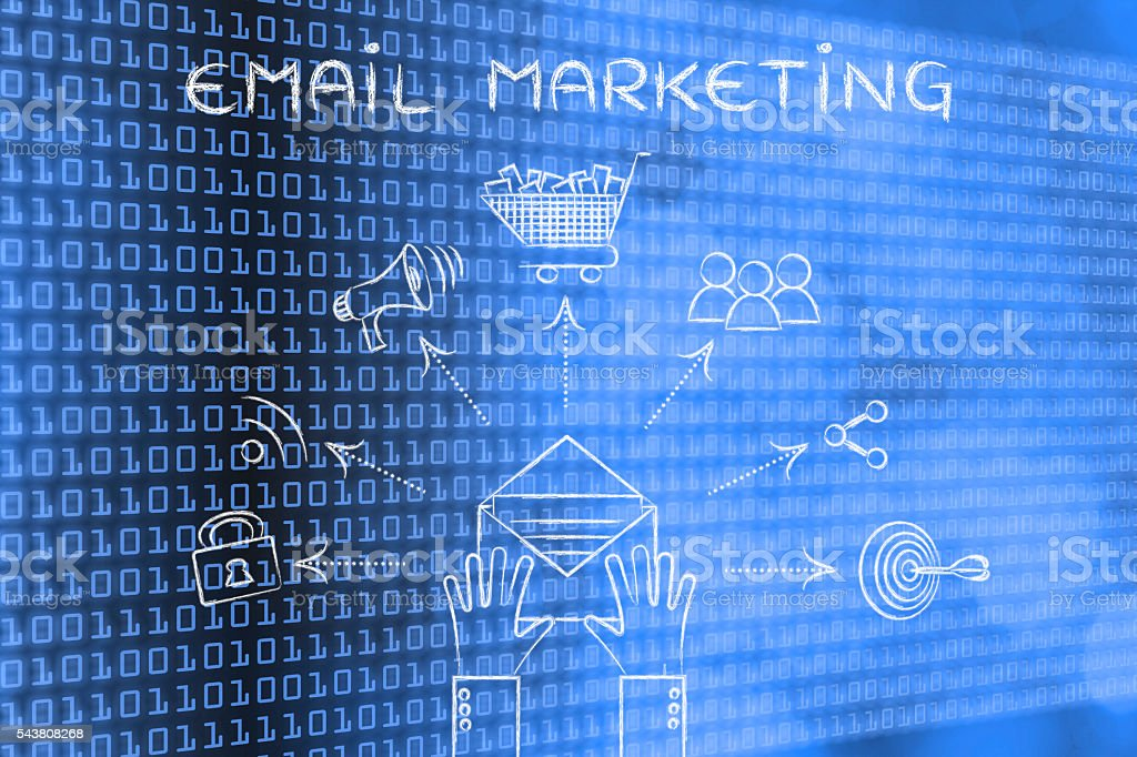 shopping & sharing symbols coming out of envelope, Email Marketi stock photo