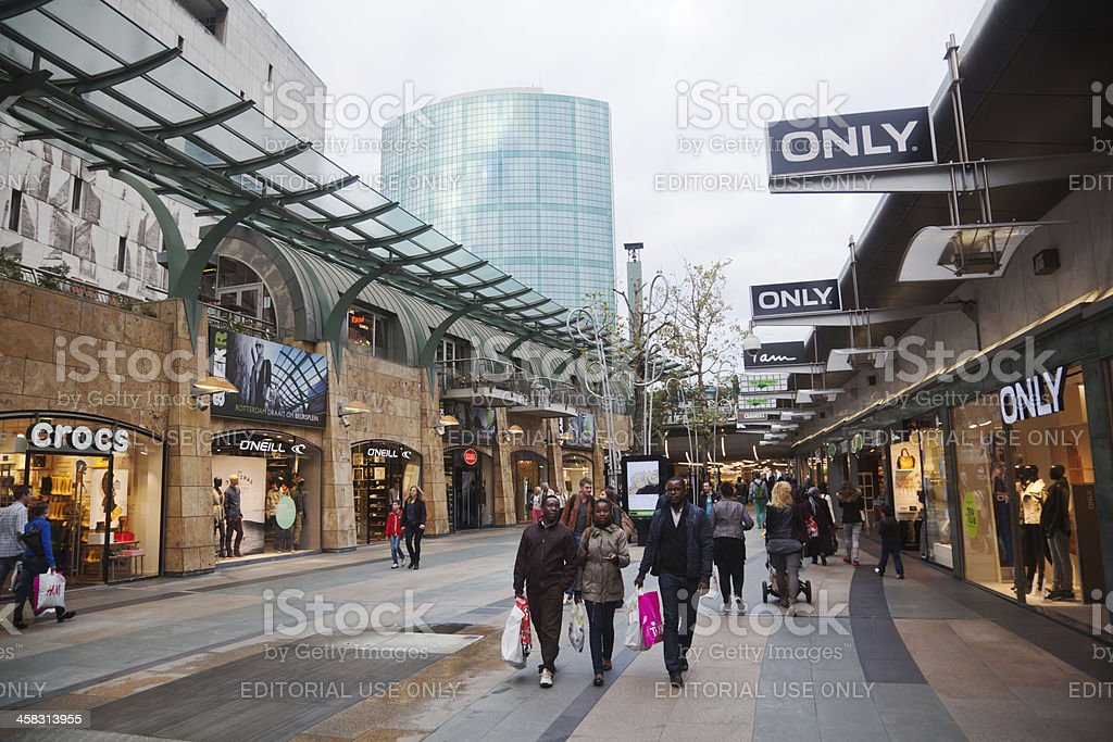 shopping street Beurstraverse in Rotterdam royalty-free stock photo