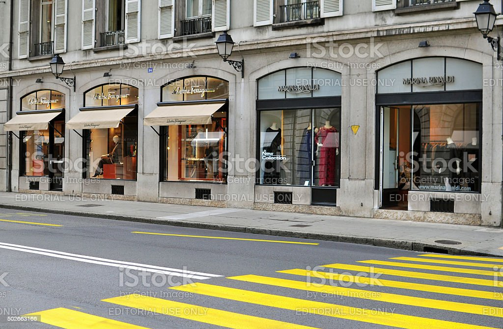 Shopping street, Geneva stock photo