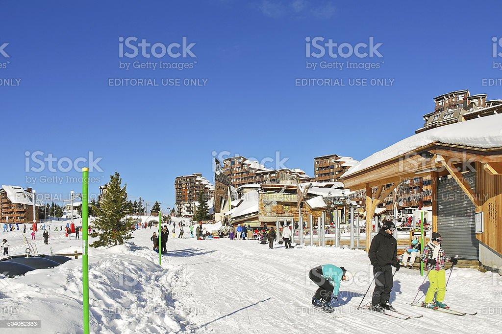shopping street in Avoriaz town in Alps, France stock photo
