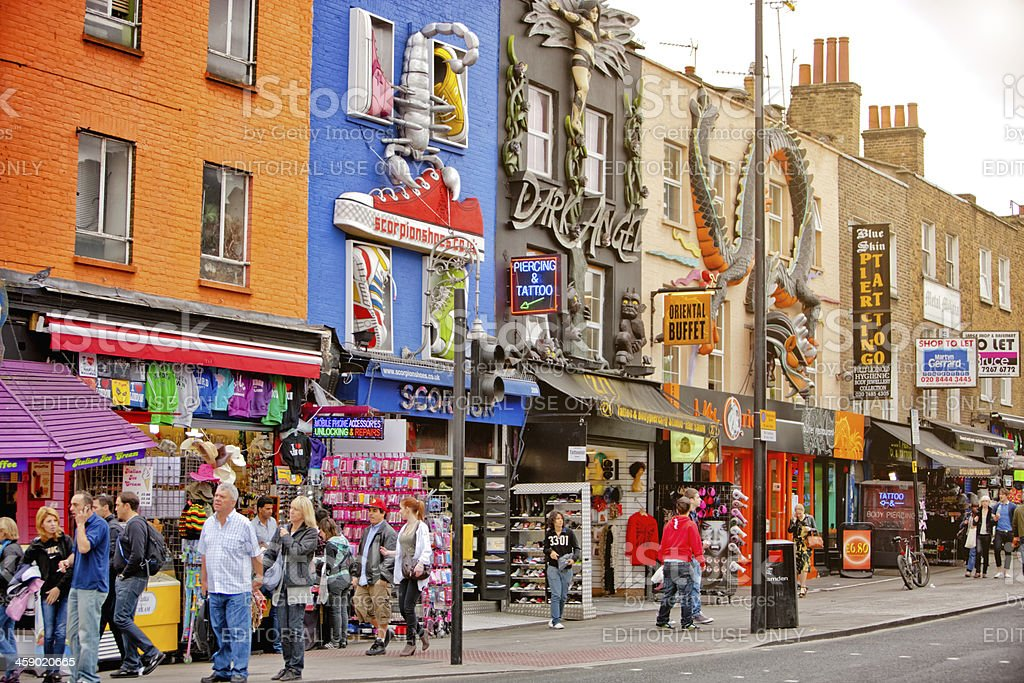 Shopping street in Camden Town, London royalty-free stock photo