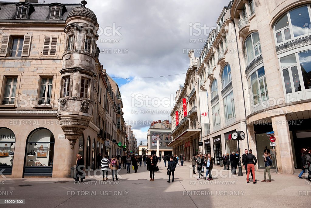 Shopping street in Dijon, France stock photo
