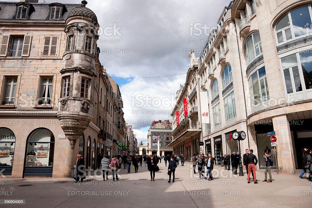 Shopping street in Dijon, France stock photo