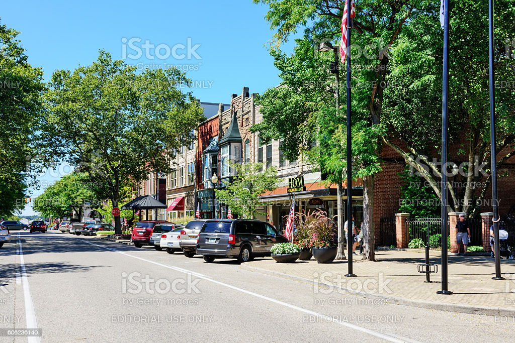 Shopping street in downtown Holland, Michigan stock photo