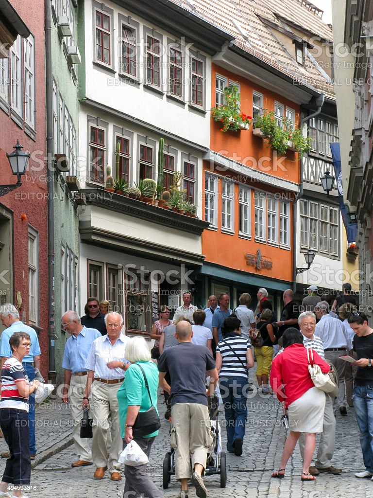 Shopping street in Erfurt, Germany stock photo