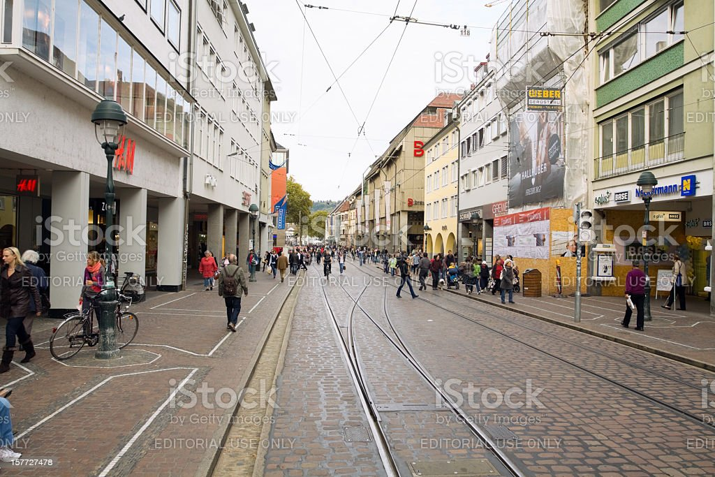 shopping street in freiburg stock photo 157727478 istock. Black Bedroom Furniture Sets. Home Design Ideas