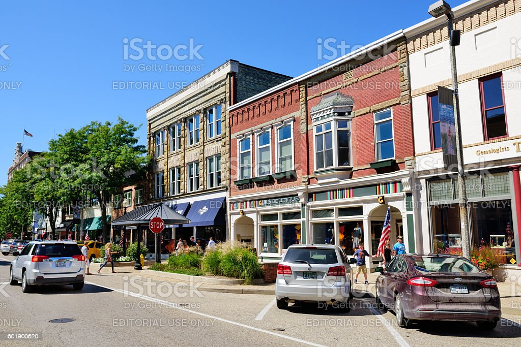 Shopping street in  Holland, Michigan stock photo