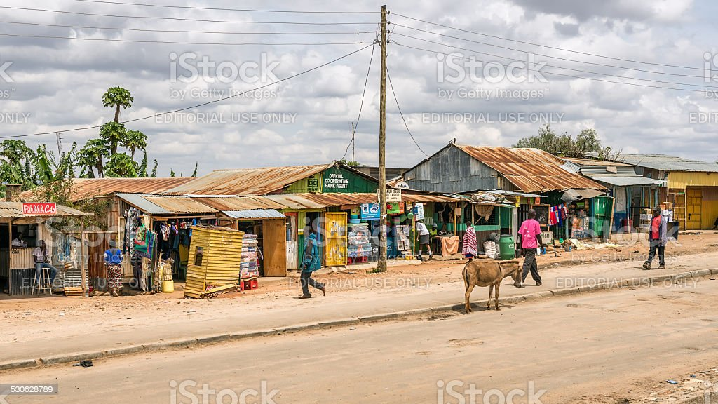 Shopping street in Namanga, Kenya stock photo
