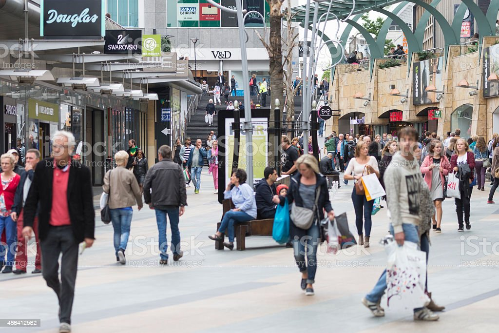Shopping street in Rotterdam stock photo