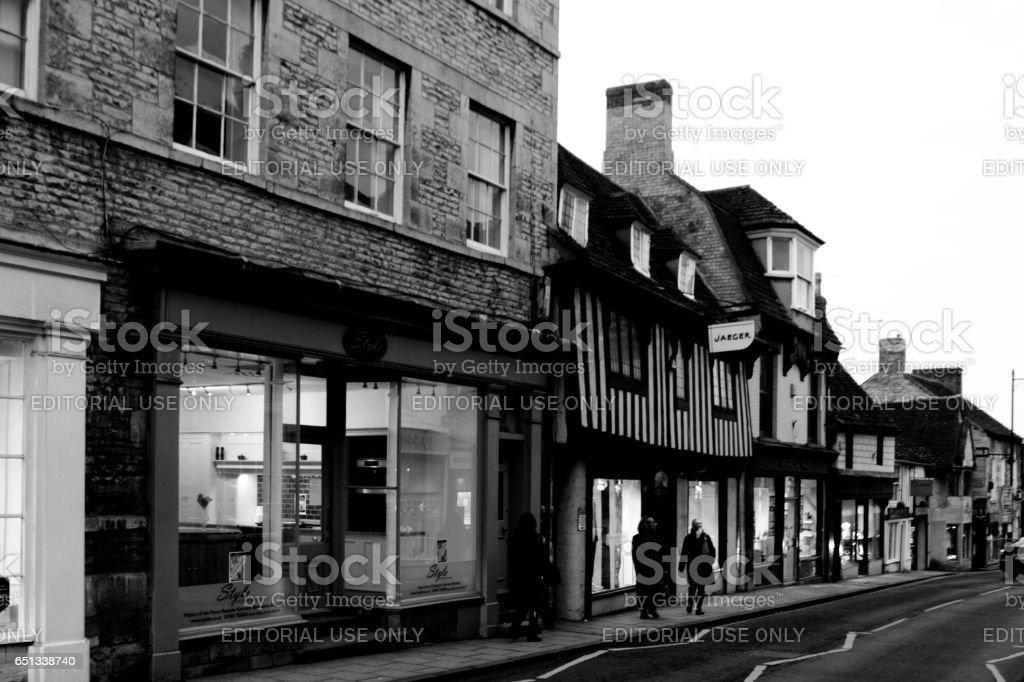 Shopping street in Stamford stock photo