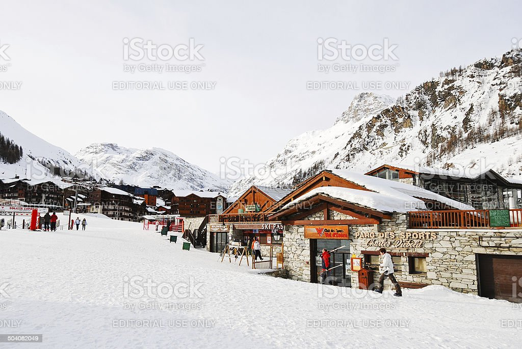 shopping street in town Val d'Isere, France stock photo