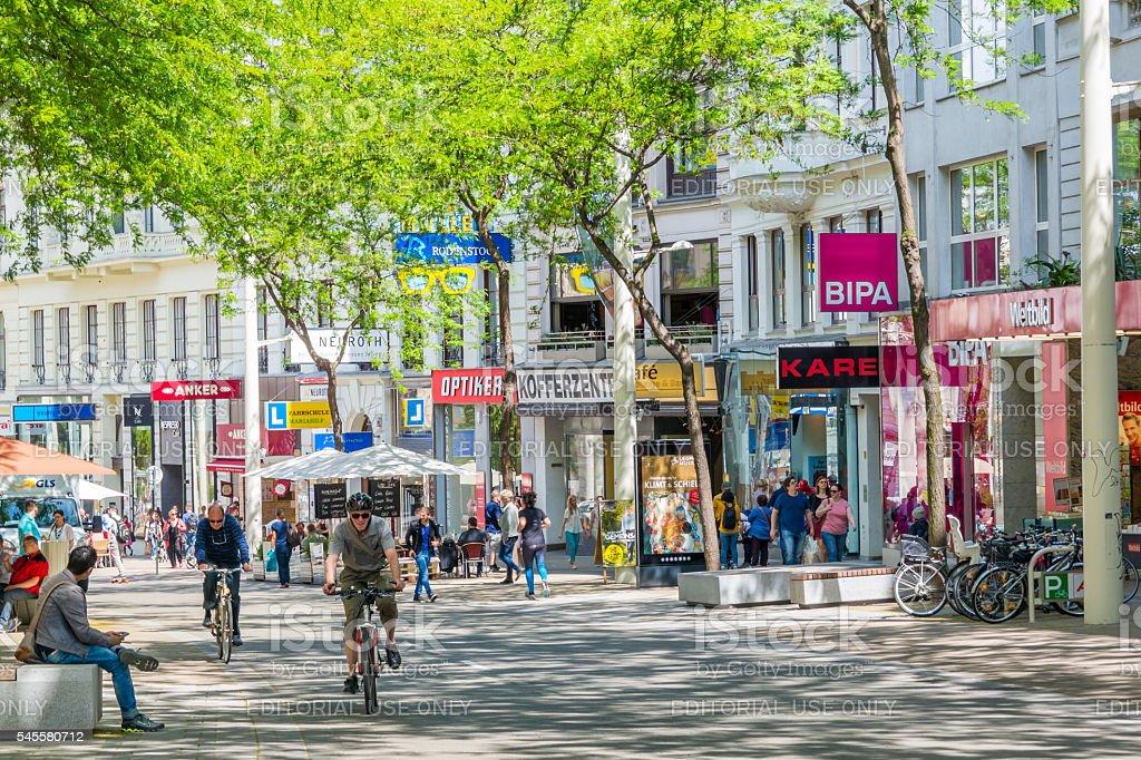 Shopping street Mariahilfer Strasse in Vienna, Austria stock photo