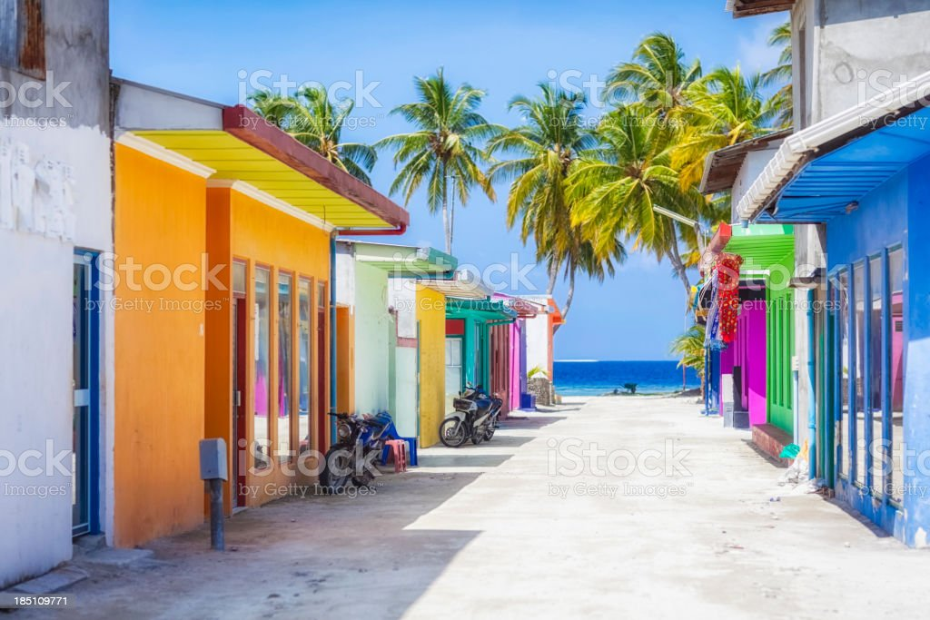 Shopping Street of Maldives ( Maafushi ) stock photo