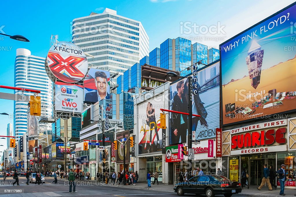 Shopping street with adds in Toronto stock photo